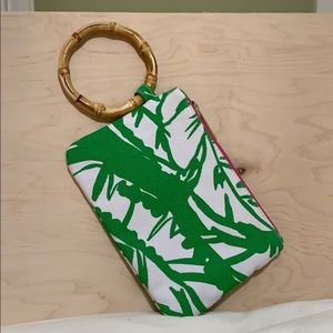 Lily Pulitzer bamboo handle clutch wristlet